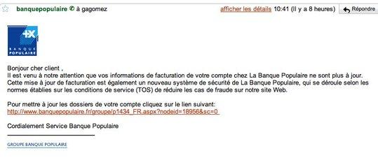 Attention - SPAM pour la Banque Populaire