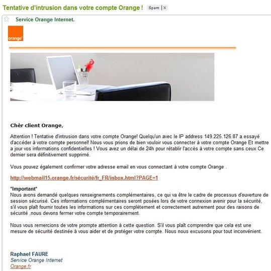 ATTENTION -  Phishing sur Orange