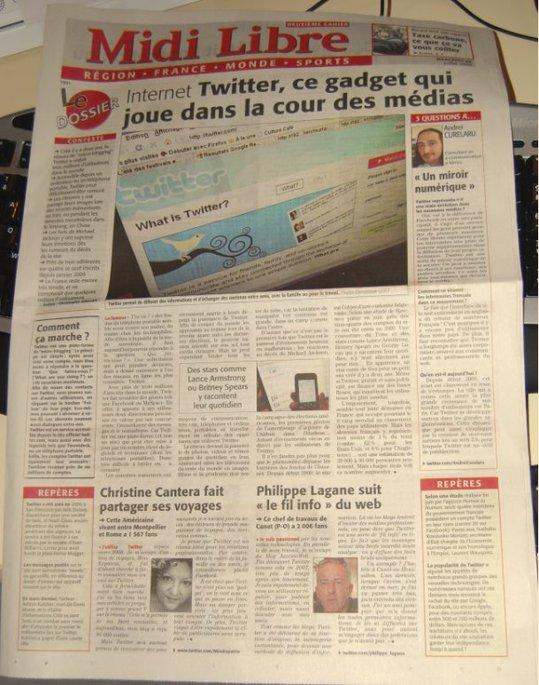Le Midi Libre met Twitter à la UNE