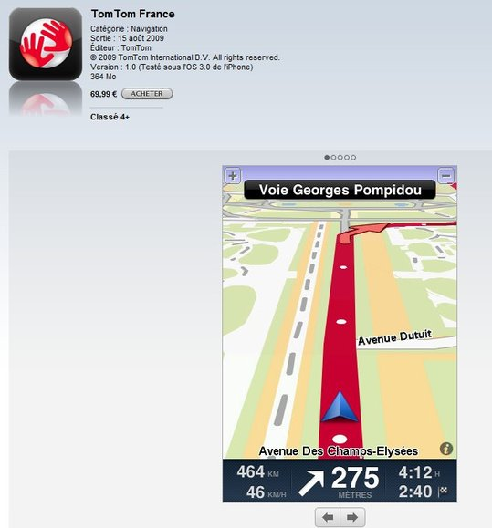 TomTom France pour iPhone et TomTom Europe disponibles