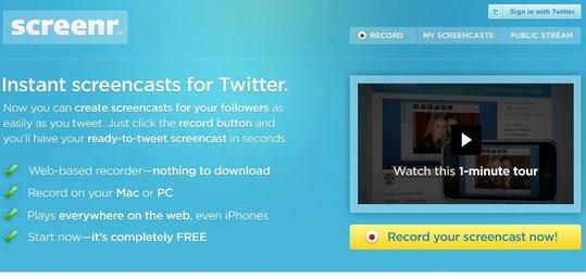 Screenr - ScreenCast pour Twitter