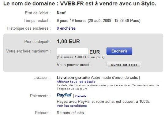 VVEB.FR est à vendre sur eBay