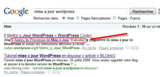 Des liens dans la description d'un site sur Google Search ?