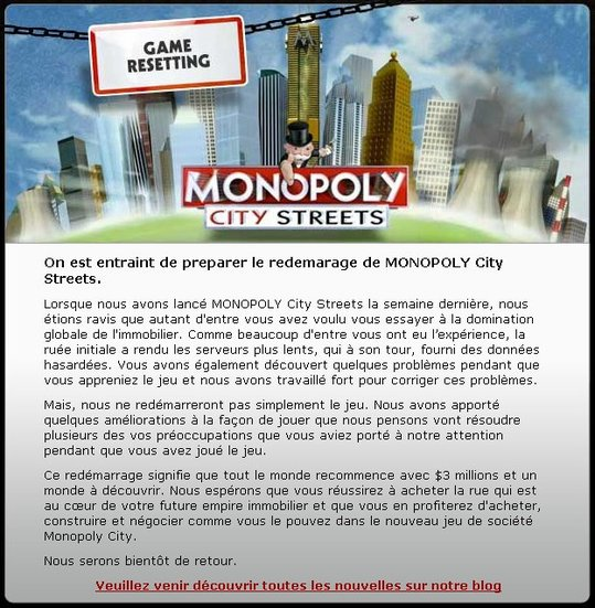 Monopoly City Street - Remise à zéro complète