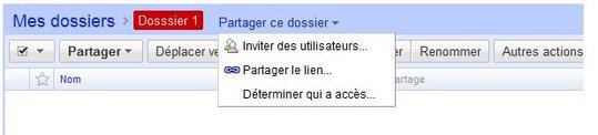 Google Documents - maintenant les dossiers peuvent être partagés