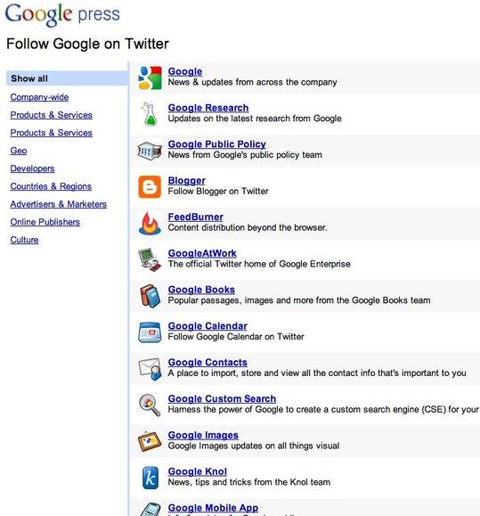 Google et ses 81 comptes Twitter