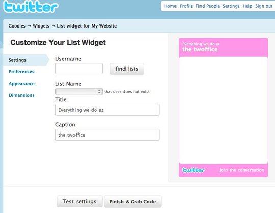 Twitter propose un Widget pour les Listes