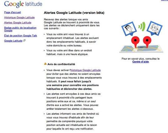 Google Latitude - Historique et Alertes