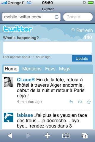Twitter - Nouvelle version mobile du site