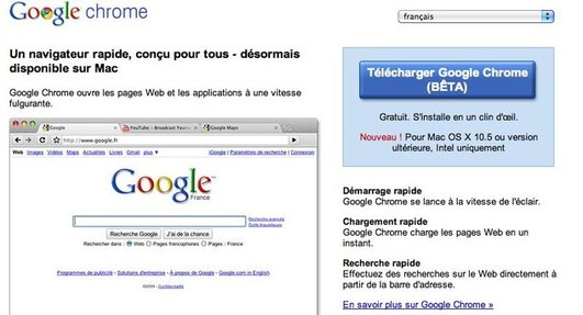 Google Chrome pour MAC - Officiellement en BETA