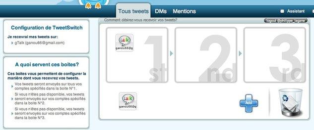TweetSwitch - Utiliser Twitter depuis MSN, GTalk, Skype, Yahoo, ou par mail