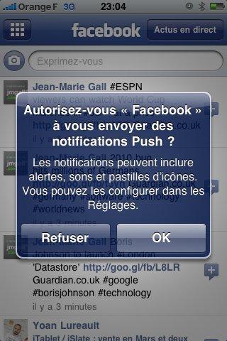 Facebook 3.1 iPhone - Notifications en push