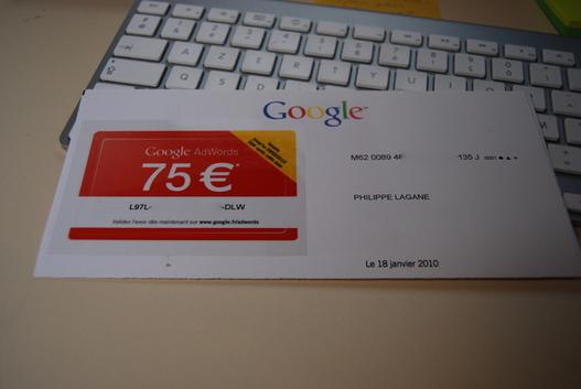 Google fait de la promo par courrier pour Google Adwords :)