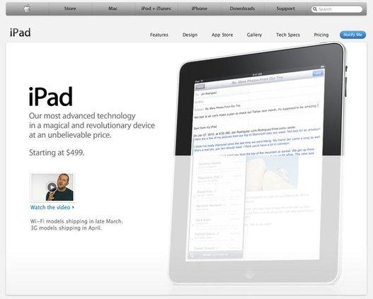 Apple iPad - maintenant en ligne sur le site d'Apple