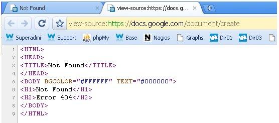 Oh !!! Une page d'erreur 404 sur Google Documents