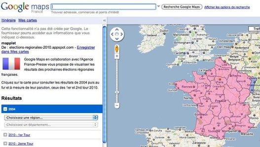 Elections Régionales 2010 - Résultats en direct sur Google Maps