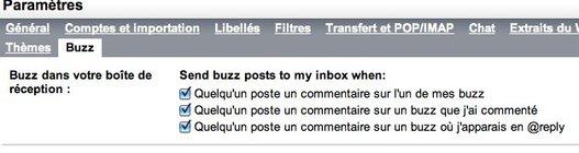 Contrôles de Google Buzz dans Gmail