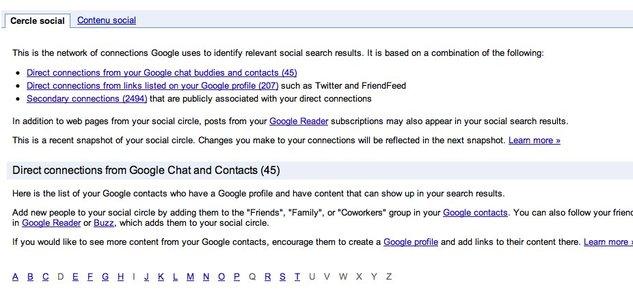 Le cercle social selon Google - Tous vos contacts de réseaux sociaux réunis sur une même page