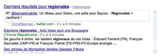 Google.fr propose les résultats de recherche en temps réel
