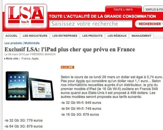 L'iPad 16Go WIFI à 549 € se confirme ?