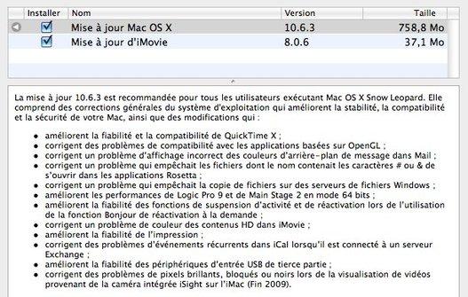 Mac OS X 10.6.3 disponible