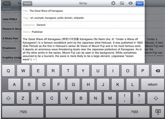 iPad 3G + Wordpress = Le rêve du Blogueur Geek ?