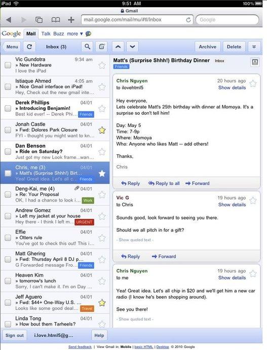 Gmail est prêt pour l'iPad