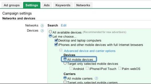 Google Adwords est prêt pour tous les appareils mobiles