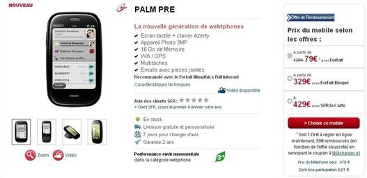 La vente des Palm Pre et Pixi chez SFR a commencé