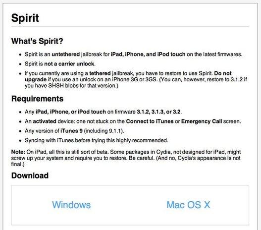 Spirit Jailbreak est disponible