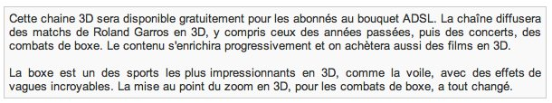 Orange annonce une chaine 3D gratuite pour fin mai 2010