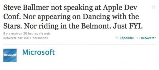 Steve Ballmer ne sera pas présent à la Keynote Apple WWDC 2010