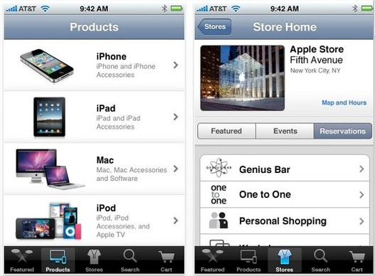 Application Apple Store pour iPhone disponible sur l'App Store