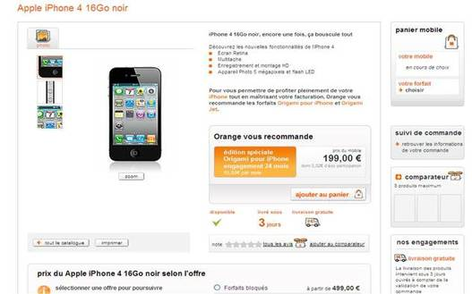 iPhone 4 - Orange ouvre les commandes sur son site