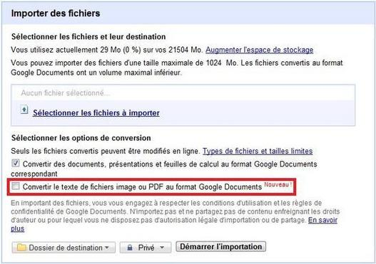 Google Documents convertit vos PDF en texte