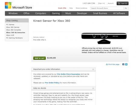 Le Microsoft Kinect est en précommande à 149,99$