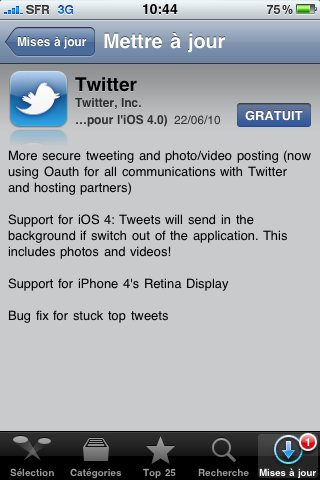 L'application Twitter pour iPhone est compatible iOS4