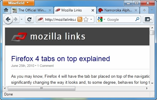 Firefox 4 - les onglets seront en haut