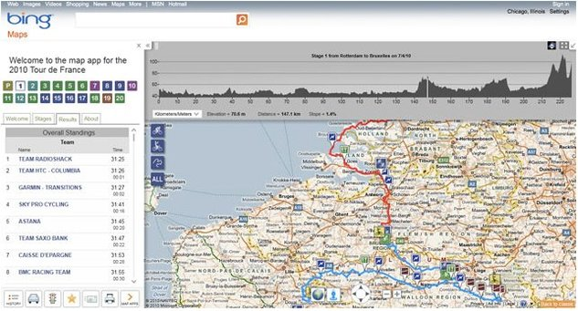 Le Tour de France 2010 sur Google Earth et sur Bing Maps