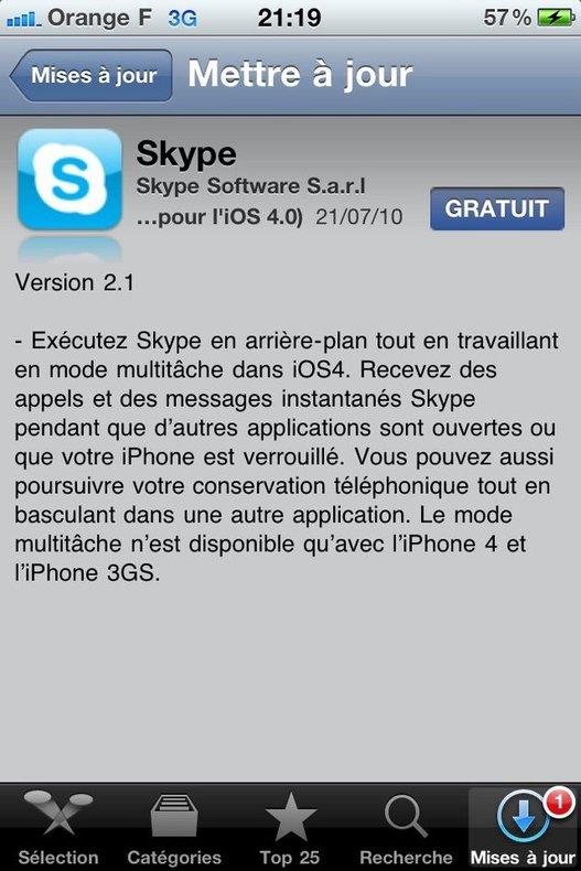 Skype pour iPhone est maintenant copain avec l'iOS4