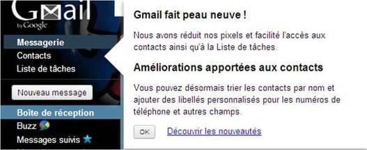 Du nouveau sur Gmail