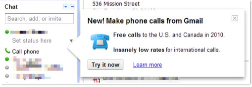 Appeler un téléphone depuis Gmail bientôt disponible... pas chez nous