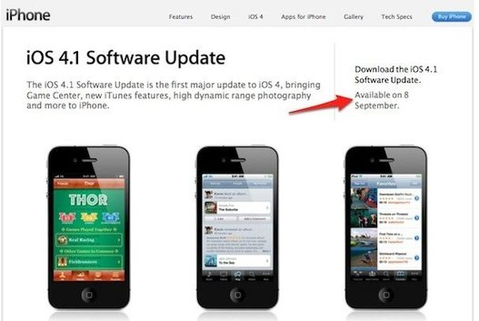 iPhone iOS 4.1 pour mercredi 8 septembre ?