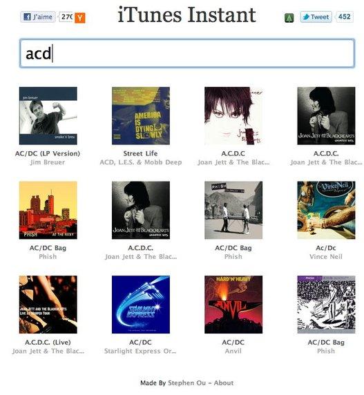 iTunes Instant - Recherche de musiques sur iTunes en temps réel