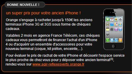Orange s'engage à reprendre votre ancien iPhone