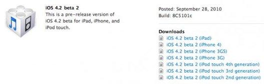 La bêta 2 de l'iOS 4.2 est disponible