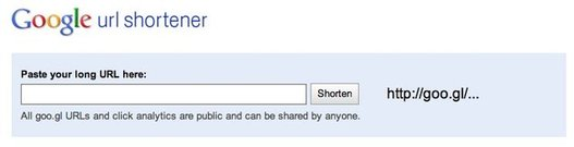 Google URL Shortener - Le site