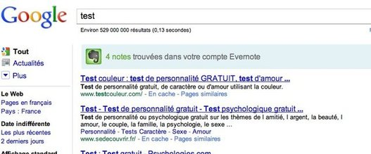 Recherche simultanée dans Google et Evernote