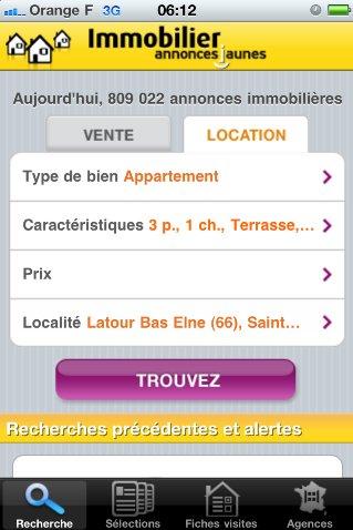 (sponso) Annonces Jaune pour iPhone - Plus de 800 000 annonces immobilières sur votre mobile