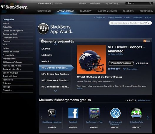 Blackberry App World maintenant sur le Web